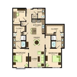 The Susanne Houston Montrose Apartments 2 bedroom, 1574ft² floorplan
