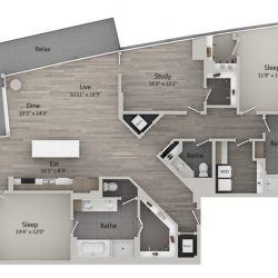 Catalyst Downtown Houston Apartment 3 Bedroom, 1995ft² Floorplan