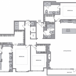 Hanover Montrose Houston Apartments 3 bedroom, 2485ft² Floorplan