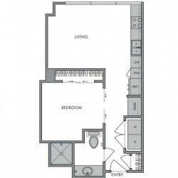 Hanover Montrose Houston Apartments Studio, 543ft² Floorplan