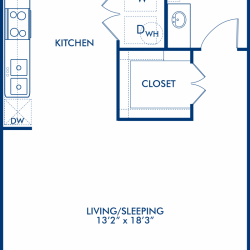 Camden City Center Houston Apartments Studio, 548ft² Floorplan