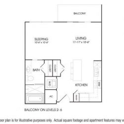 The Sovereign at Regent Square Apartments Studio, 592ft² floorplan