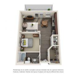 Jefferon Heights Houston Montrose Apartments 2 bedroom, 597-607ft² floorplan