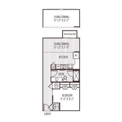 Ashton West Dallas Montrose Houston Apartments 1 bedroom, 608ft² floorplan