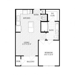 Fairmont Museum District Houston Apartments 1 bedroom, 609ft² Floorplan