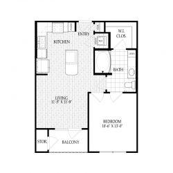 Fairmont Museum District Houston Apartments 1 bedroom, 609ft² Floorplan