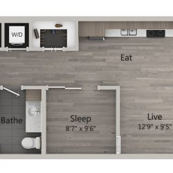 Catalyst Downtown Houston Apartment Studio, 613ft² Floorplan