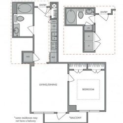 Hanover Montrose Houston Apartments 1 bedroom, 613ft² Floorplan