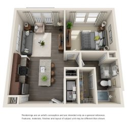 Jefferon Heights Houston Montrose Apartments 1 bedroom, 624ft² floorplan