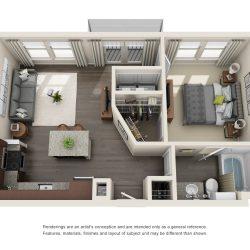 Jefferon Heights Houston Montrose Apartments 1 bedroom, 631ft² floorplan