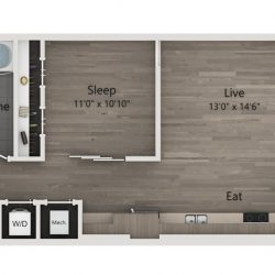 Catalyst Downtown Houston Apartment Studio, 653ft² Floorplan