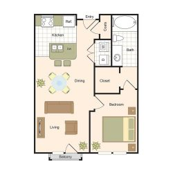 Jackson Hill Houston Apartments 1 bedroom, 665ft² Floorplan
