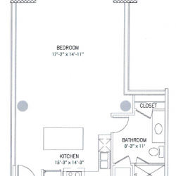 City View Lofts Houston Apartments 1 Bedroom, 667ft² Floorplan