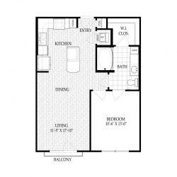 Fairmont Museum District Houston Apartments 1 bedroom, 670ft² Floorplan