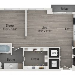 Catalyst Downtown Houston Apartment Studio, 682ft² Floorplan