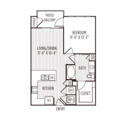 Ashton West Dallas Montrose Houston Apartments 1 bedroom, 683ft² floorplan