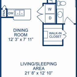 Camden City Center Houston Apartments Studio, 685ft² Floorplan