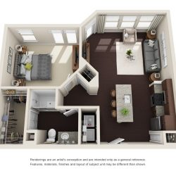 Jefferon Heights Houston Montrose Apartments 1 bedroom, 686ft² floorplan