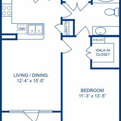 Camden City Center Houston Apartments 1 Bedroom, 690ft² Floorplan