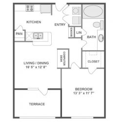 AMLI City Vista Houston Montrose Apartments 1 bedroom, 691ft² floorplan