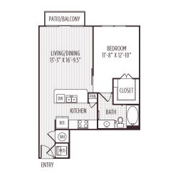 Ashton West Dallas Montrose Houston Apartments 1 bedroom, 695ft² floorplan