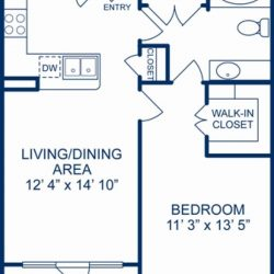 Camden City Center Houston Apartments 1 Bedroom, 698ft² Floorplan