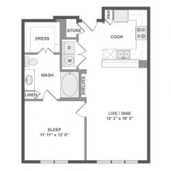 AMLI River Oaks Houston Montrose Apartments 1 bedroom, 699ft² floorplan