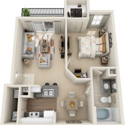 Estates at Memorial Heights Houston Apartments 1 bedroom, 700ft² Floorplan
