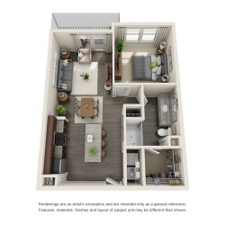 Jefferon Heights Houston Montrose Apartments 1 bedroom, 702ft² floorplan
