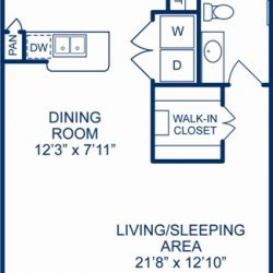 Camden City Center Houston Apartments Studio, 707ft² Floorplan
