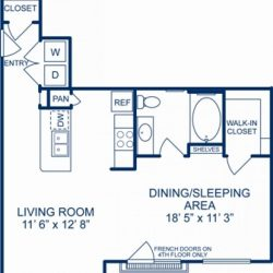 Camden City Center Houston Apartments Studio, 709ft² Floorplan