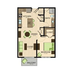 The Susanne Houston Montrose Apartments 1 bedroom, 710ft² floorplan