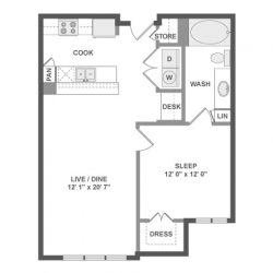 AMLI River Oaks Houston Montrose Apartments 1 bedroom, 711ft² floorplan