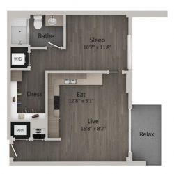 Catalyst Downtown Houston Apartment Studio, 720ft² Floorplan