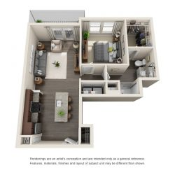 Jefferon Heights Houston Montrose Apartments 1 bedroom, 726ft² floorplan