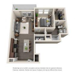 Jefferon Heights Houston Montrose Apartments 1 bedroom, 726ft² floorplan