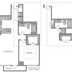 Hanover Montrose Houston Apartments 1 bedroom, 729ft² Floorplan
