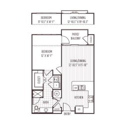Ashton West Dallas Montrose Houston Apartments 1 bedroom, 731ft² floorplan