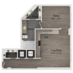 Catalyst Downtown Houston Apartment Studio, 731ft² Floorplan
