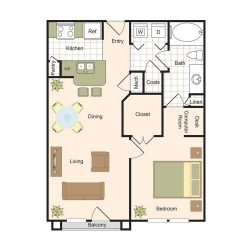 Jackson Hill Houston Apartments 1 bedroom, 732ft² Floorplan