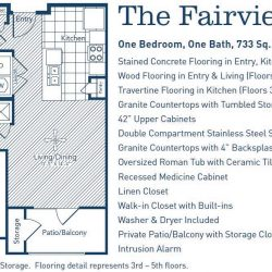The Westheimer Houston Apartments 1 bedroom, 733ft² floorplan