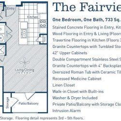 The Westheimer Houston Apartments 1 bedroom, 733ft² floorplan