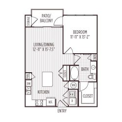 Ashton West Dallas Montrose Houston Apartments 1 bedroom, 736ft² floorplan