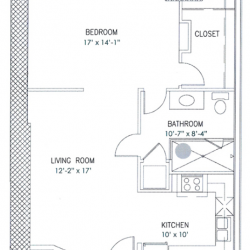 City View Lofts Houston Apartments 1 Bedroom, 744ft² Floorplan