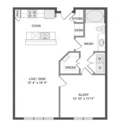AMLI River Oaks Houston Montrose Apartments 1 bedroom, 746-886ft² floorplan