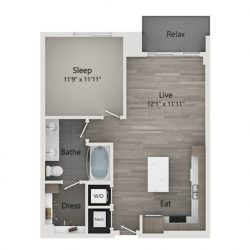 Catalyst Downtown Houston Apartment 1 bedroom, 747ft² Floorplan