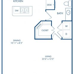 Camden City Center Houston Apartments Studio, 748ft² Floorplan