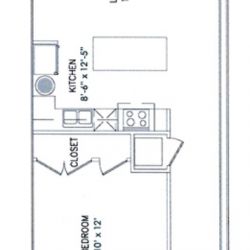 City View Lofts Houston Apartments 1 Bedroom, 748ft² Floorplan