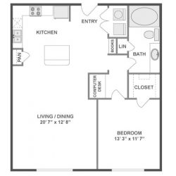 AMLI City Vista Houston Montrose Apartments 1 bedroom, 752ft² floorplan