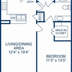 Camden City Center Houston Apartments 1 Bedroom, 753ft² Floorplan